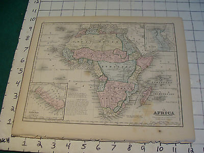 Vintage Original 1866 Mitchell Map: AFRICA # 40 aprox 10 X 12""