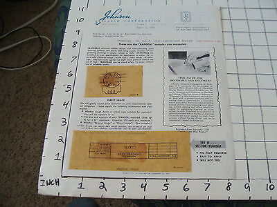 vintage Paper Ephemera: 1954 Johnson Research Corp. paper with examples TRANSEAL
