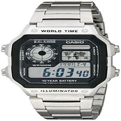 Casio Mens Ae1200whd-1A Stainless Steel Digital Watch Lcd Display Water Resista