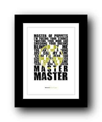 METALLICA  Master Of Puppets ❤ song lyric poster art print - 5 sizes #3