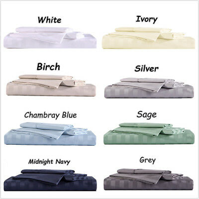 1000TC 100% Egyptian cotton stripe 3-piece set 1x fitted sheet, 2x pillowcases