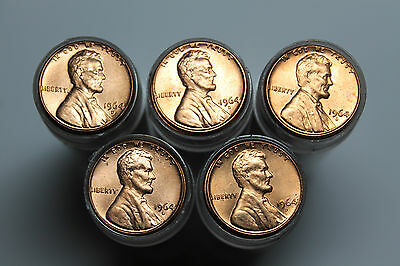 Lot of 5 1964D BU Lincoln cent rolls