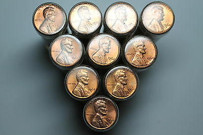 Lot of 10 1964D BU Lincoln cent rolls