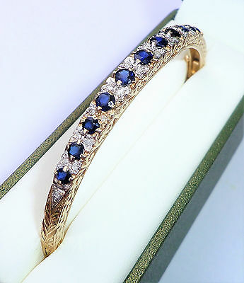 9ct Gold Sapphire & Diamond Bangle Bracelet