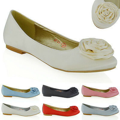 Womens Bridal Flat Shoes Satin Wedding Bridesmaid Ballerina Flower Slip On Pumps
