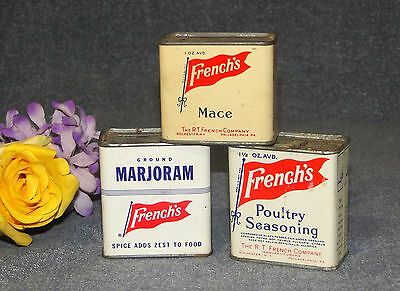 Lot Of 3 Vintage French's Seasoning Tins - Poultry Mace Marjoram