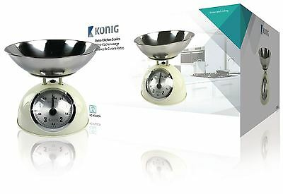 Konig Retro kitchen scale with stainless steel bowl creme