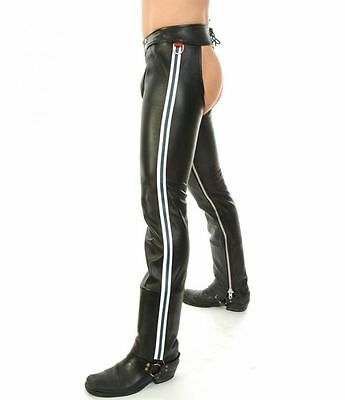 100% REAL LEATHER CHAPS leder fetish gay jeans pants GAY CHAPS/BIKER TROUS
