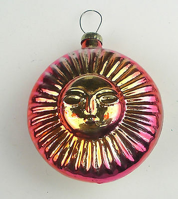 Old Vintage Russian USSR Silver Glass Christmas X-mas Tree Ornament Sun