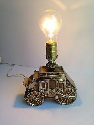 Vintage Brass Toned Heavy Carriage Shape Coach Wagon Table Lamp RARE