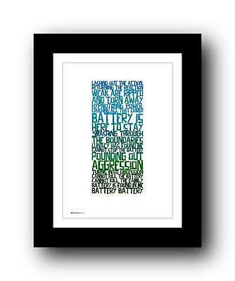 METALLICA - Battery ❤ song lyric poster art typography Print - 5 sizes #13