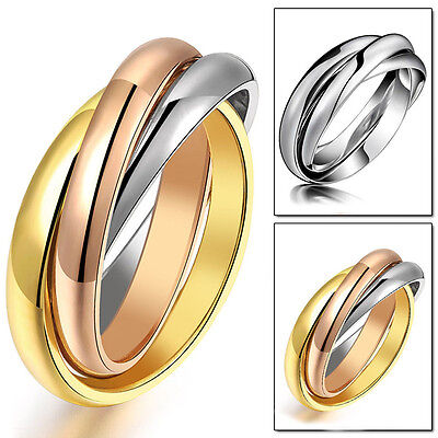 316L Stainless Steel Triple Tone Tri-Roll Links Band Silver/Gold Ring Size 6-12