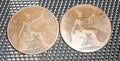 Nice Great Britain 1895 Penny Coin Queen Victoria Coin