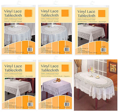 Vinyl White Oval Rectangle Square Round Embossed Lace Tablecloth Table Cover New