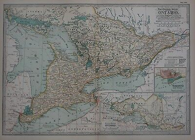 Original 1897 Map ONTARIO Canada Hamilton Lake Simcoe Windsor Kitchener Toronto