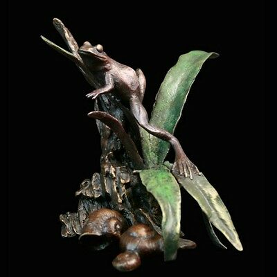 Frog with Ferns Solid Bronze Foundry Cast Sculpture by Michael Simpson [817]