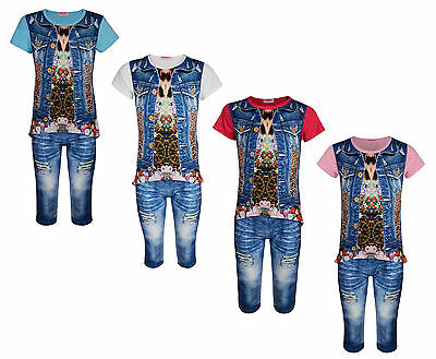 Girls Top & Leggings Set 2 Piece Outit Denim Look 2-10 Years Bnwt