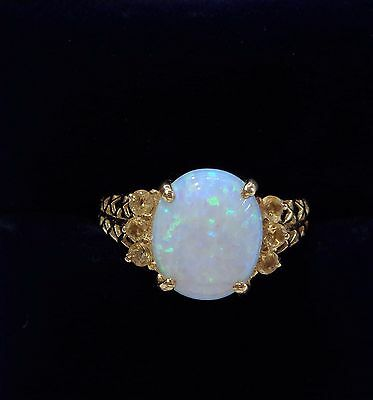 Opal Solitaire Ring with Citrine in 9ct Yellow Gold - Size N 1/2