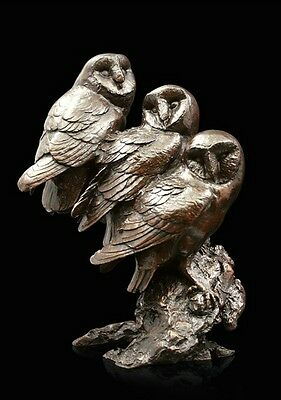 Watchful Three Owls Solid Bronze Foundry Cast Sculpture by Michael Simpson (945)
