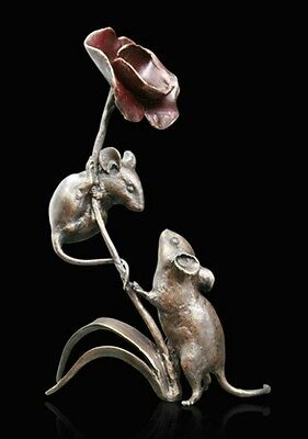 Mice with Poppy Solid Bronze Foundry Cast Sculpture by Michael Simpson (954)