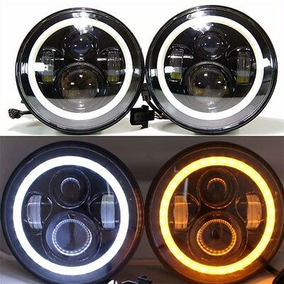 "2x 7"" CREE LED Headlight Angel Eye Amber Halo DRL For Jeep Wrangler JK TJ 97-17"
