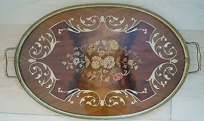 Vintage Large  Inlaid Wood Wooden Italy Italian  Tray Flowers Flower