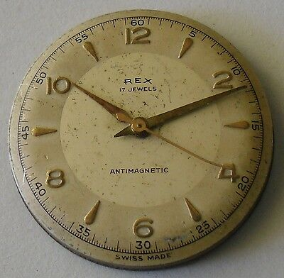 ETA 1080 Movement Parts or Repair Vintage 1950 Rex 30 mm Pie Pan Dial
