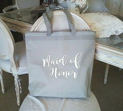 """NEW """"Maid of Honor"""" Large Gray White Tote Bag Nylon Canvas Zipper Top Wedding"""