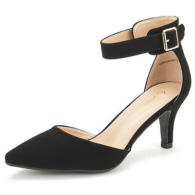 LOWPOINTED New Women's Dress Low Heel D'orsay Pointed Toe Wedding Pumps Shoes