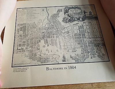 Baltimore in 1804 Map Original Lithograph by Hoen & Co