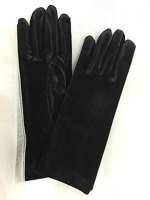 "9.5 "" Velvet Wrist Length Gloves  Black ."