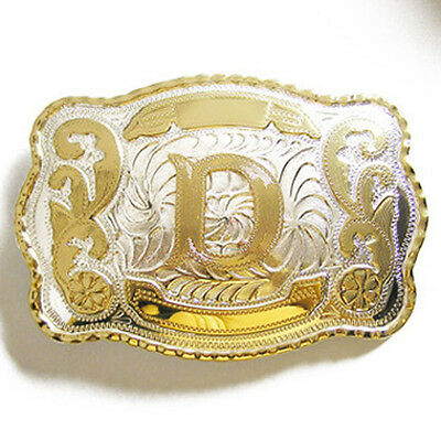 "Initial ""D"" Letter Large Gold & Silver Rodeo Western Cowboy Metal Belt Buckle"