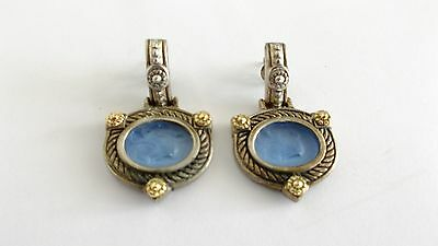 Milros Sterling Silver 18K Gold Dangle Earrings, Blue Carved Man on Horse, Italy