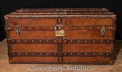 Large Antique English Leather Trunk Luggage Case Steamer Trunk Table Cheney