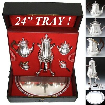 Very RARE Antique French Complete Sterling Silver Tea Pot Service, Tray, Samovar