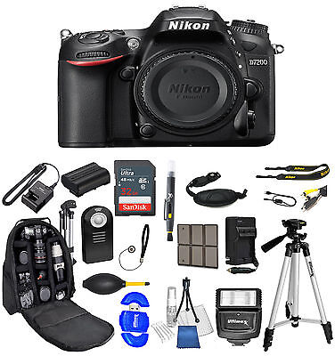 Nikon D7200 DSLR Camera Body Only All you Need 32GB + Backpack Value Bundle
