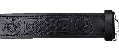 Scottish Highland Black Embossed Thistle,  Leather Kilt Belts