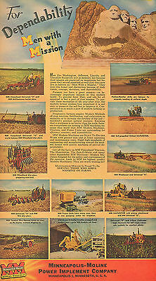 Large 1947 Minneapolis Moline Universal U  & R Tractor & Combine & Drill