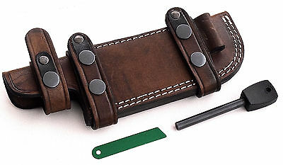 CFK USA Custom Handmade LEFT HAND Horizontal Scout Knife sheath & FIRE STARTER