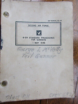 1945 WWII B-29 Standard Procedures For Gunners Manual 2nd Air Force Book Named(t