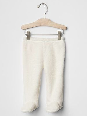 GAP Baby Girls / Boys Size Newborn Ivory Sherpa / Furry Footed Leggings Pants