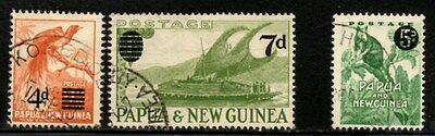 Papua New Guinea 1957/1959 Surcharged Issues  SG.16/17 and SG.25  Fine Used