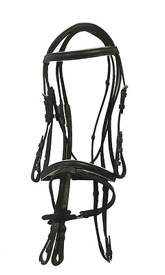 Genuine Leather Hanovarian Bridle with White Padded Nose & Brow with Web Reins