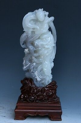China exquisite hand-carved Hetian jade Phoenix Mythical characters/fairy Statue