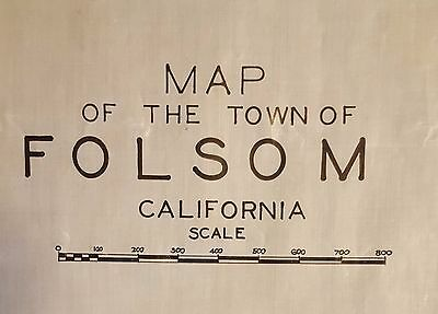 Folsom, California. Old street map of the city layout, 1914 based on Sutter's