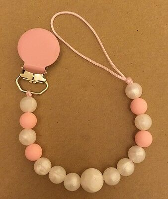 Silicone Teething Pacifier Clip Teether Girls Pink Pearl Chain Holder Chewable