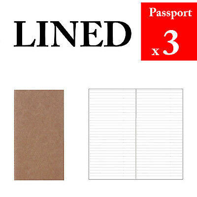 3 x Passport Lined Refills Vintage Travel Journal Notebook Paper Diary