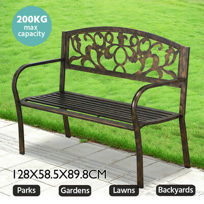 Steel Iron Outdoor Garden Patio Bench Park Porch Chair Seat Vintage Relax Bronze