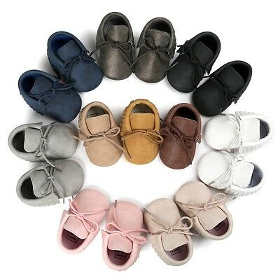Baby Tassel Soft Sole Shoes Infant Boy Girl Toddler Moccasin Crib Shoes 0-18M