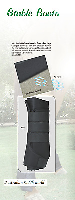 Set of 4 Full Black Horse Breathable Stable Boots